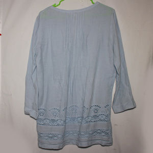 Sundance Tops - Sundance Blue Long Sleeve Pintuck Tunic Top Size S